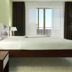 Noční stolek + postel + komoda + závěsné police na zeď Miu - DUB MOŘENÝ NA TMAVÝ OŘECH