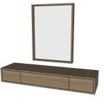 Toaletní stolek + zrcadlo - TŘEŠEŇ EVROPSKÁ