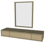 Toaletní stolek + zrcadlo - DUB AMERICKÝ