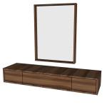 Toaletní stolek + zrcadlo - OŘECH FRANCOUZSKÝ S BĚLÍ